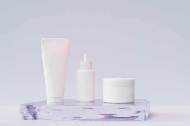 Mockup dropper bottle, lotion tube and cream jar for cosmetics products or advertising on glass podium, 3d illustration render