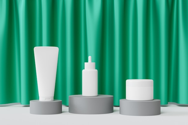 Mockup dropper bottle, lotion tube and cream jar on gray podiums with green curtains