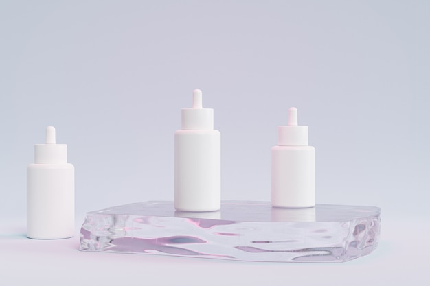 Mockup dropper bottles for cosmetics products or advertising on glass podium, 3d illustration render