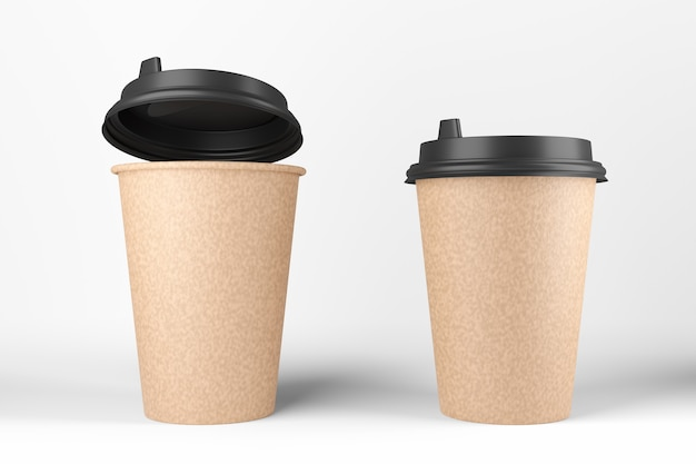 Mockup of empty buzhany cups. one black glass jar with open lid. 3d rendering.