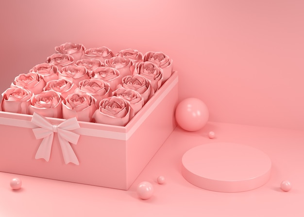 Mockup empty display valentine rose gift box pink abstract background 3d render