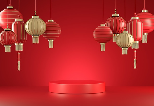 Mockup empty minimal red display with chinese lantern abstract background 3d render