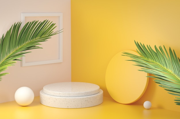 Mockup empty platform yellow corner room with palm leaf