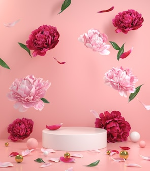Mockup empty white podium with floral peonies flower pink