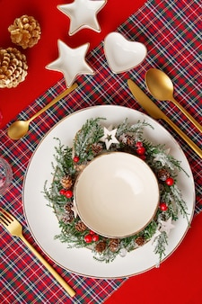 Mockup of festive decoration of christmas table for the party