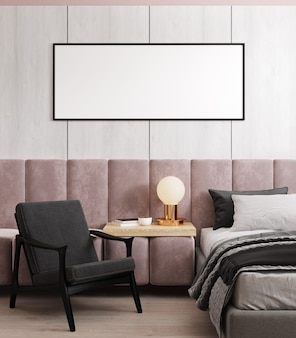 Mockup frame in bedroom interior background, scandinavian style, 3d render