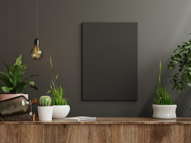Mockup frame on cabinet in living room interior on empty dark wall background. 3d rendering