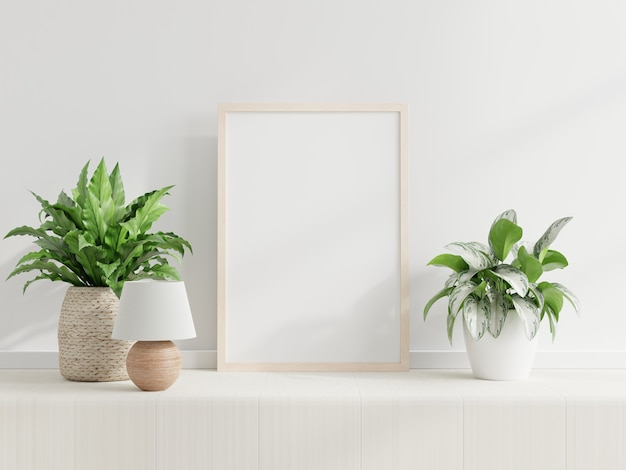 Mockup frame on cabinet in living room interior,scandinavian style,3d rendering