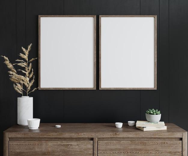 Рама макета в интерьере гостиной с деревянной консолью, две вертикальные деревянные рамы на фоне черной стены, 3d визуализация
