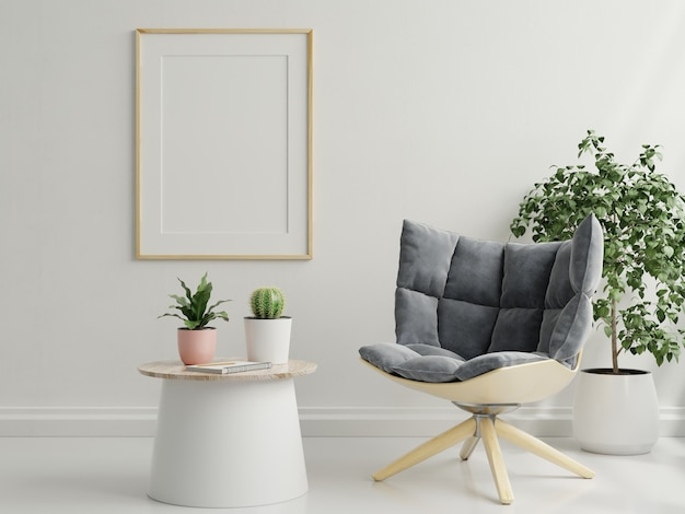 Mockup frame in living room interior with armchair,scandinavian style,3d rendering