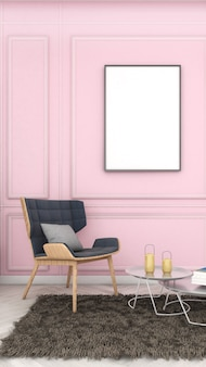 의자가 있는 부드러운 분홍색 벽에 있는 모형 프레임, 현대적인 스타일, 포스터 모형, 3d 렌더링