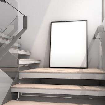 현대적인 스타일의 포스터 모형 외부에서 나오는 빛이 있는 계단의 모형 프레임