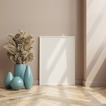 Рамка макета на деревянном полу в интерьере гостиной, скандинавский стиль, 3d-рендеринг