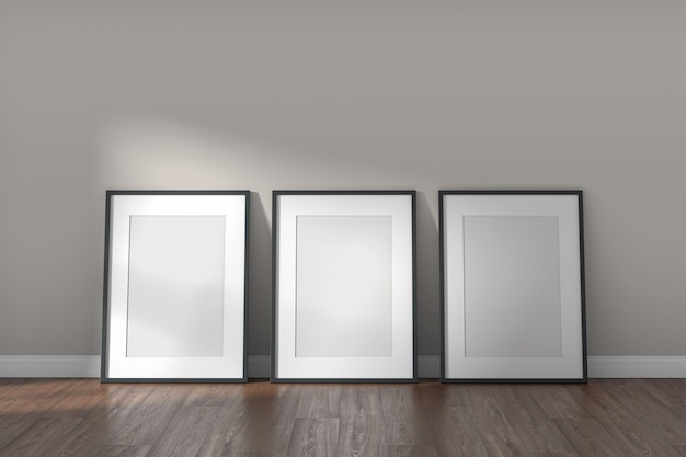 Mockup frames on empty white room with clear wall and wood floor. modern minimal style. 3d render.