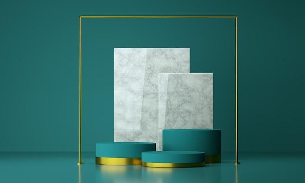 파란색 배경, 3d 렌더링 제품 디자인을위한 모형 기하학적 모양 연단.