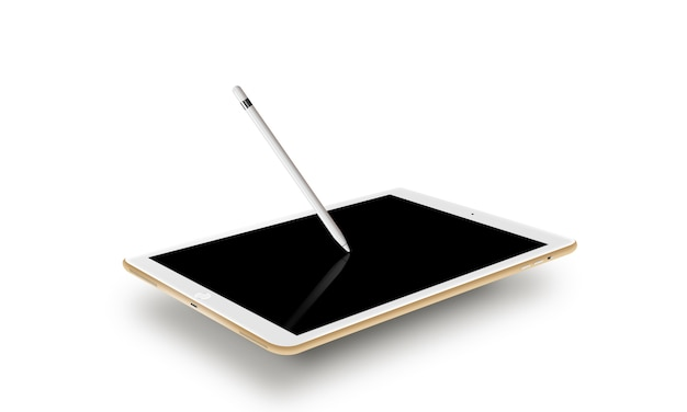 Mockup gold tablet realistic style with stylus.