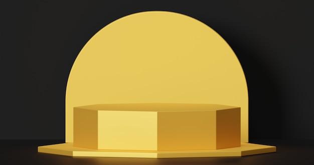 Мокап золотой подиум для презентации продукта