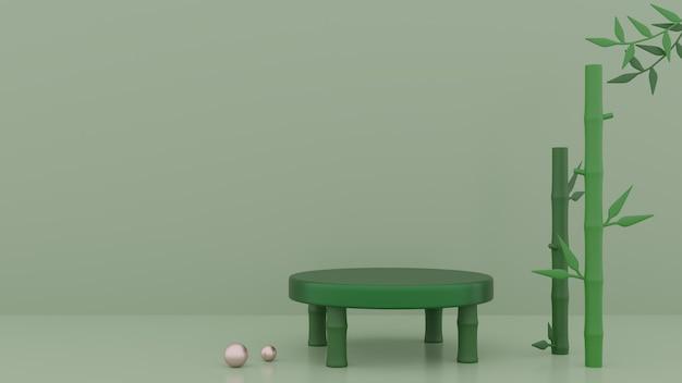 Мокап зеленых ступенек подиума и растений-монстров с жемчугом 3d-рендеринга premium фотографии