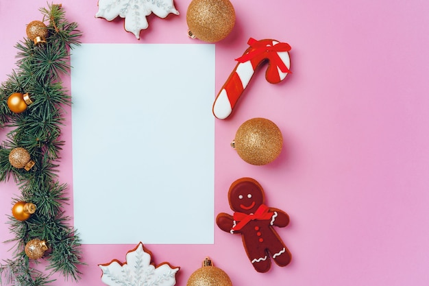 Mockup of holiday greeting card with gingerbread cookies