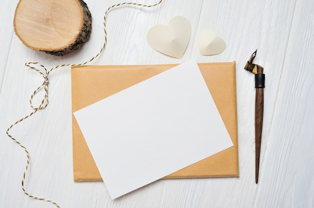 Mockup letter with a calligraphic pen greeting card for st. valentine's day. valentine dating