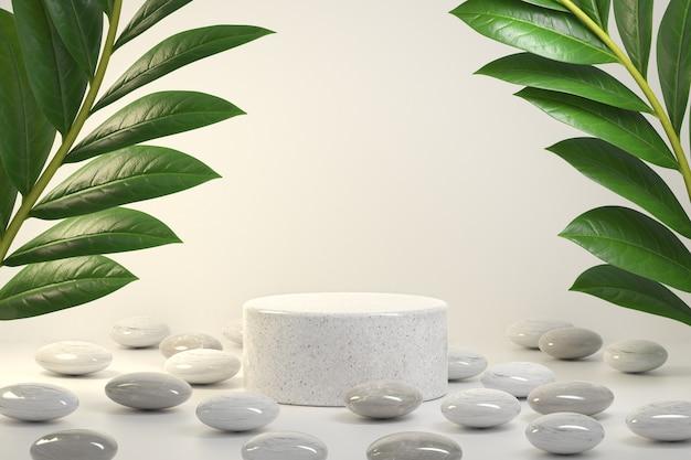 식물과 자갈 돌로 천연 제품을 보여주기위한 모형 럭셔리 최소 플랫폼
