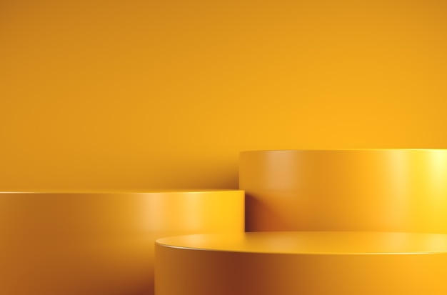 Mockup minimal basic yellow step podium for presentation products abstract background