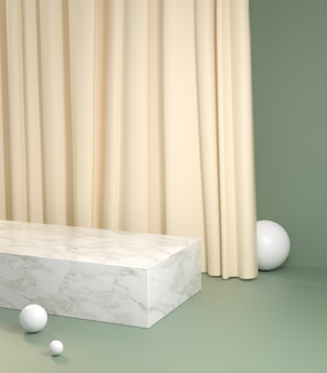 Mockup minimal podium with cream curtain on pastel green background 3d render