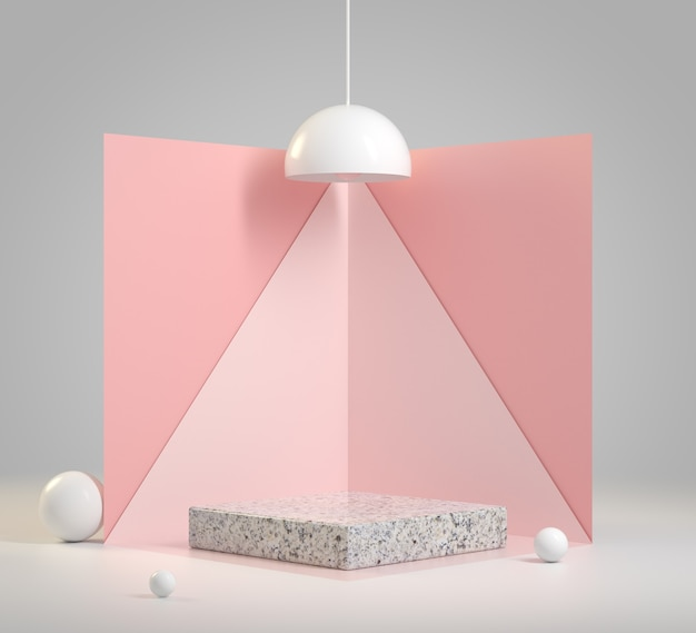 Mockup minimal podium with light pink backdrop concept abstract background 3d render