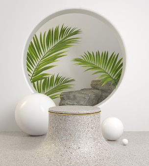 Mockup minimal stone podium and tropical palm leaves with rock 3d render