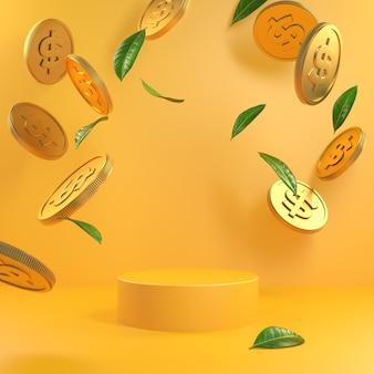 Минимальный желтый подиум макета с золотыми монетами и зелеными листьями, падающими 3d визуализации