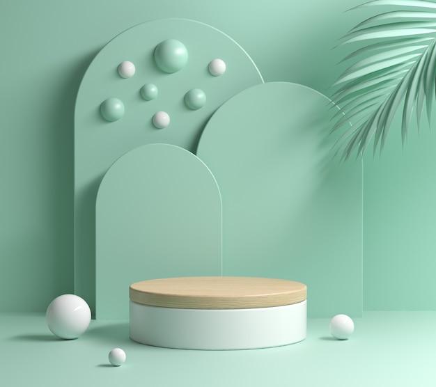 Mockup mint pastel modern minimal wooden podium