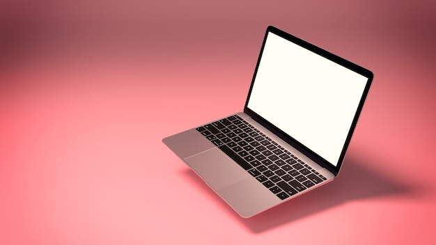 Mockup of modern laptop with blank screen on pink background. 3d render illustration for your design.