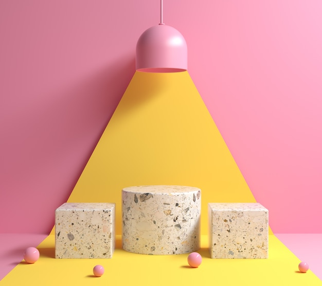 Макет современный минимальный абстрактный геометрический подиум под концепцией лампы желтого света и розовый цветовой тон фона 3d визуализации