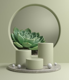 Mockup modern podium set on gray marble base with tropical plant 3d render