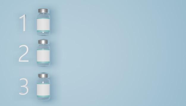 파란색 배경에 순위가 매겨진 흰색 라벨이있는 3 개의 백신 병 모형. 3d 렌더링