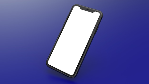 青いグラデーションの背景を持つ黒い携帯電話のモックアップ。ウェブサイトやアプリケーションの画像を配置するのに最適です。