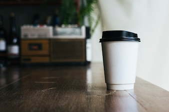 Mockup of a disposable cup of coffee
