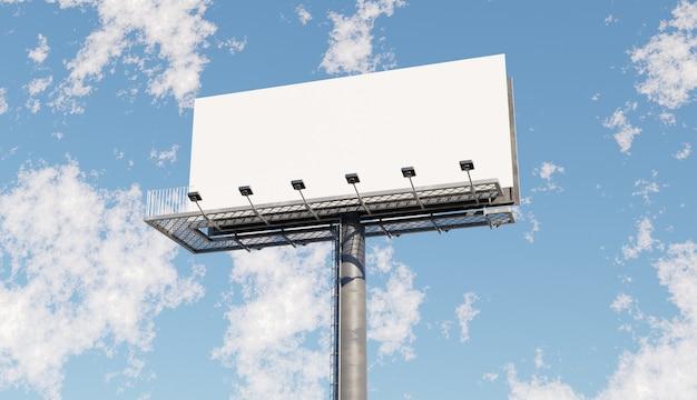 푸른 하늘이 큰 흰색 빌보드의 모형. 3d 그림