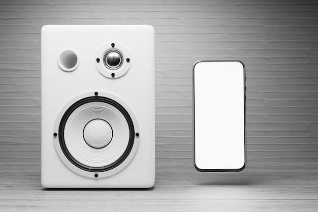 Макет смартфона с белым экраном возле белого музыкального динамика 3d-рендеринга
