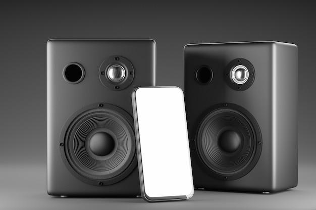 Макет смартфона с белым экраном на фоне черных музыкальных колонок. макет смартфона с белым экраном для дизайна вашего приложения. 3d-рендеринг