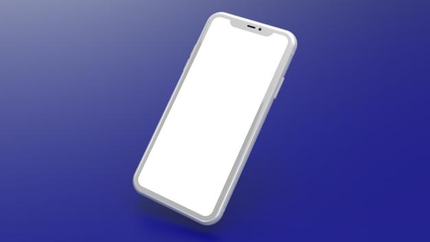 青いグラデーションの背景を持つ白い携帯電話のモックアップ。ウェブサイトやアプリケーションの画像を配置するのに最適です。