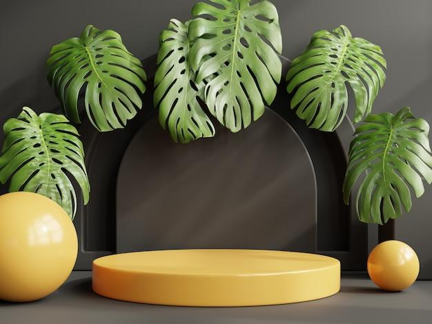 제품 프레젠테이션이 있는 노란색 연단 모형.3d 렌더링