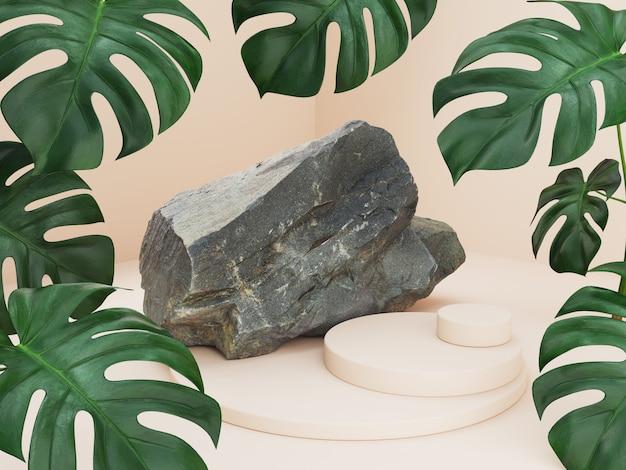 Макет абстрактного подиума с пальмовых листьев