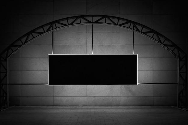 Макет черной прямоугольной вывески с подсветкой и с местом для вашего текста