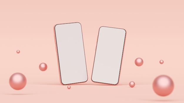 ピンクの背景、3 dレンダリングに空白の画面のスマートフォンのモックアップ