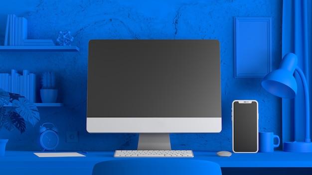 Макет электронных устройств на синем