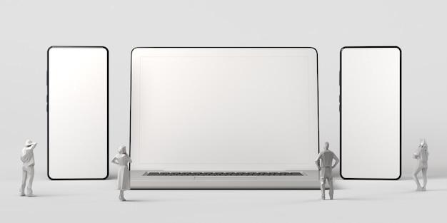 Макет ноутбука и двух смартфонов на белом фоне и людей, смотрящих копией пространства