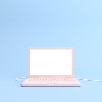 흰색 빈 화면이 노트북의 이랑