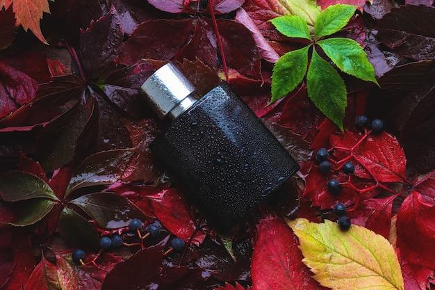 秋の紅葉を背景にしたメンズ香水のモックアップ。セレクティブフォーカス、上面図。