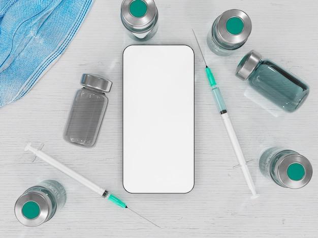 Макет мобильного телефона с вакцинами и шприцами на столе для презентации пропуска covid. концепция путешествий, отдыха, иммунизации и вакцинации. 3d рендеринг